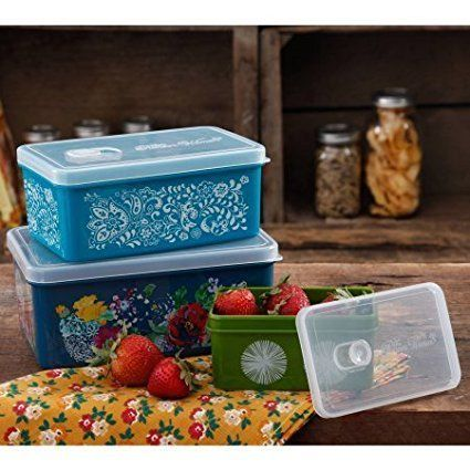 The Pioneer Woman Rectangular Food Storage with Vent Container Set, Set of 3 in Country Garden by The Pioneer Woman
