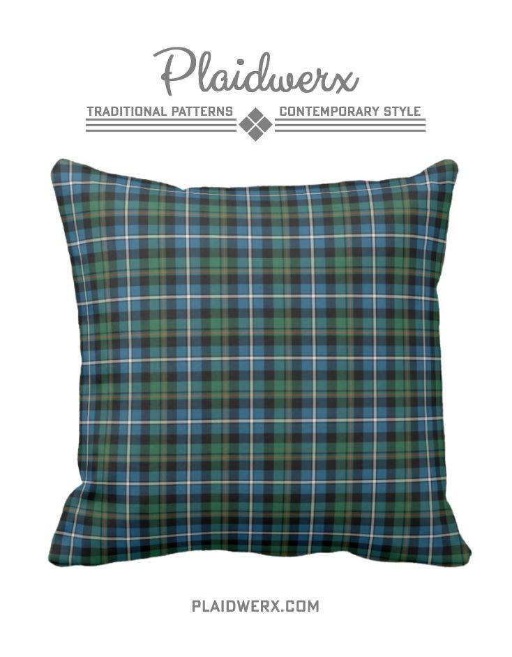 Clan MacRae Hunting Tartan Throw Pillow - Choose from three fabric types and three sizes. #macrae #tartan #plaid #scottish #pillow #throwpillow #homedecor #plaidwerx