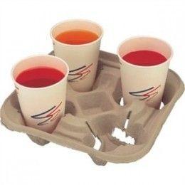 Bandeja porta vasos realizado en fibra moldeada para bebidas frías o calientes, capacidad para  dos ó cuatro vasos. Producto biodegradable.