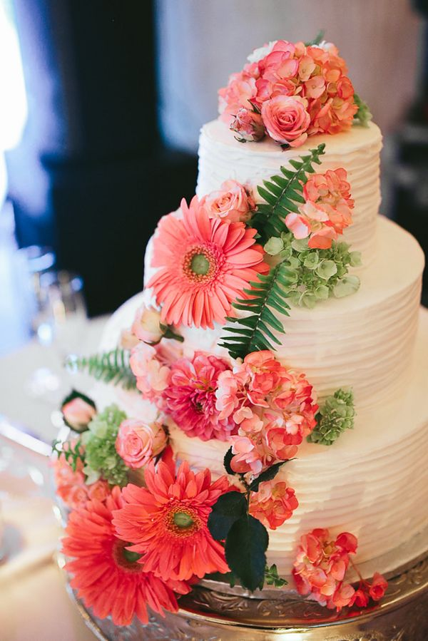 Cake Decorated With A Cascade Of Flowers|Pretty Mint U0026 Coral Wedding At The  Corry