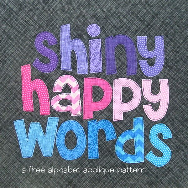 free alphabet applique pattern from Shiny Happy World (with template) More