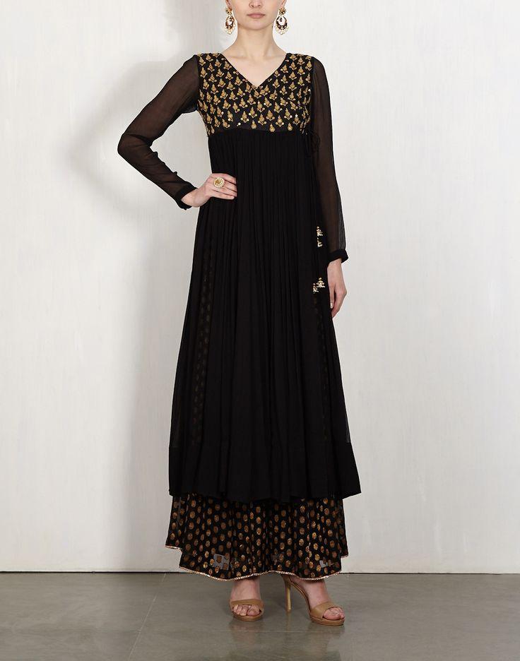 Black Embroidered Kurta With Sharara