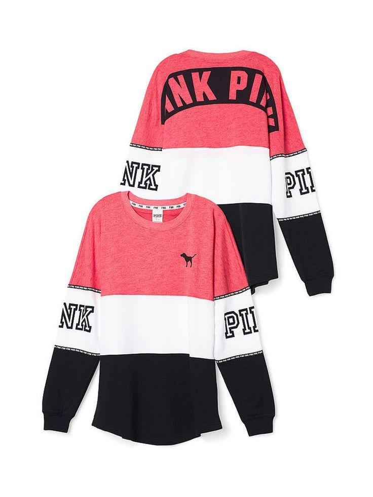 VICTORIAS SECRET PINK VARSITY CREW NEON RED/WHITE/BLACK SIZE S NIP #PINK #VarsityCrew