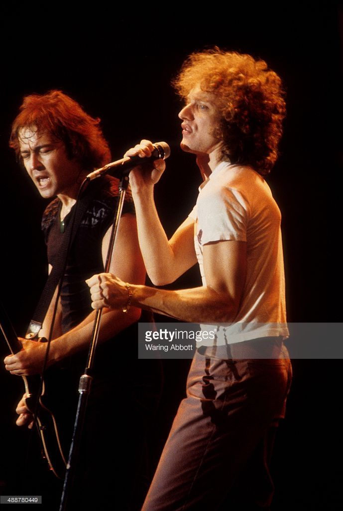 British guitarist Mick Jones and American vocalist, Lou Gramm of the British-American rock group Foreigner performing live at New Haven Veteran's Coliseum on January 1, 1979 in New Haven, Connecticut.