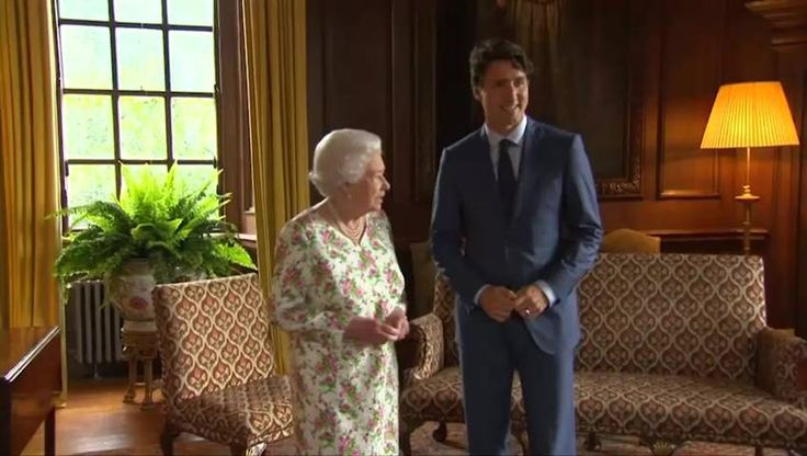 Prime Minister Justin Trudeau marked Canada's 150th birthday with the Queen Wednesday by giving her the Canadian flag that flew on the Peace Tower on Canada Day.