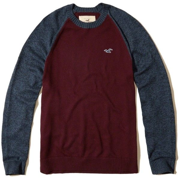Hollister Crew Icon Sweater ($20) ❤ liked on Polyvore featuring men's fashion, men's clothing, men's sweaters, burgundy, mens slim fit sweater, mens crew neck sweaters, mens crewneck sweaters and mens burgundy sweater