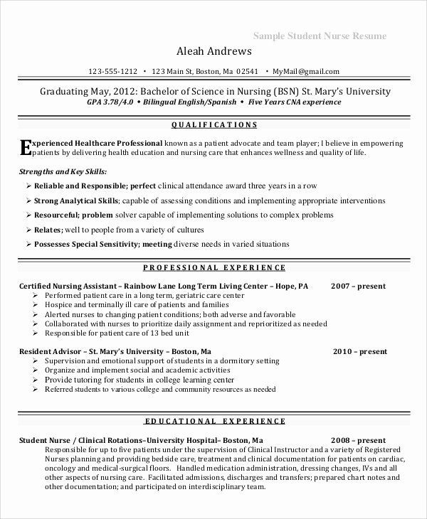 Nursing Student Resume Examples New Experienced Nursing Resume Template Samples With Professional Summa In 2020 Student Resume Student Resume Template Nursing Students