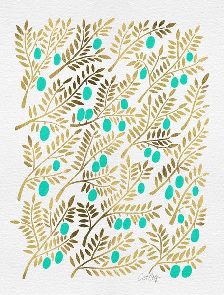 Gold & Turquoise Olive Branches Art Print by Cat Coquillette   Society6