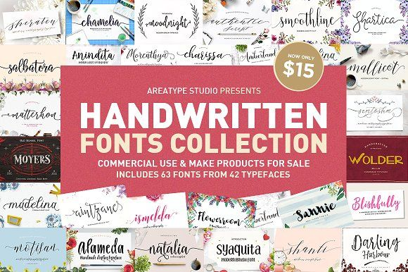Handwritten Fonts Collection by Areatype on @creativemarket