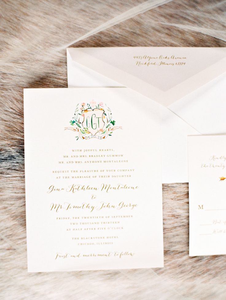 Wedding Invitations with Custom Crest - Photography: KinaWicks.com: | A monogram theme wedding - 15 Ways to Use Monograms : https://www.fabmood.com/monogram-theme-wedding