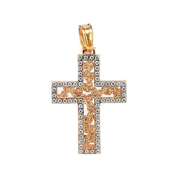 Σταυρός  δίχρωμος ροζ χρυσό Κ14  1482  ζιργκόν