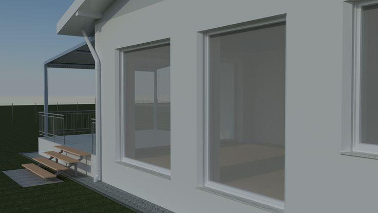 Családiház-tervezés három dimenzióban Ez a keleti homlokzaton készült első képünk, kora reggeli napsütésben.