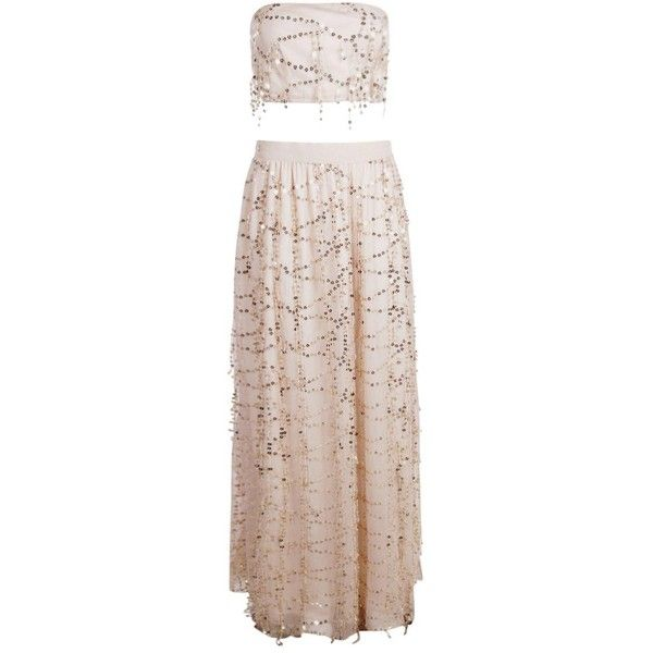 Boohoo Megan Sequin Bandeau Top And Maxi Skirt Co-Ord ($70) ❤ liked on Polyvore featuring bandeau bikini tops, waist belts, bandeau tops and golf skirts