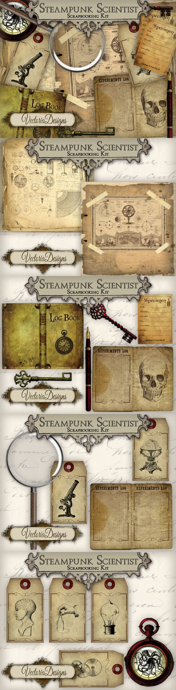 Steampunk Scientist Scrapbooking Kit by VectoriaDesigns