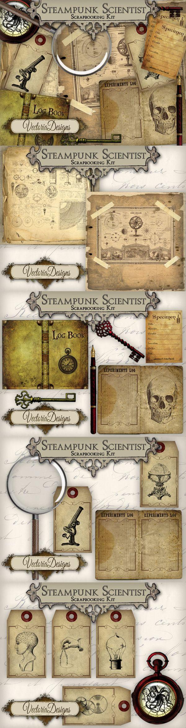 Steampunk Scientist Scrapbooking Kit by VectoriaDesigns.deviantart.com