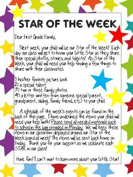 Star Student letter to parents- love this unique way to have a star student (versus just having 1 day for them to share it all) getting to know each other at the beginning of the year