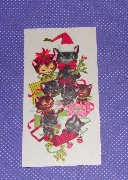 """VTG Christmas Card Sangamon Kittens Cats Presents #159 - $10.00. In very good used condition. Was previously glued in an album so may have a few paper scuffs on back as shown. Please view pictures. Measures 3 1/8"""" left to right by 7 1/4"""" tall. Marked on back Sangamon 2497 Made In U.S.A. I do buy and resale from Estate sales so I cannot guarantee these items come from Smoke free / Pet free homes. I do not wash vintage items (with the exception of some clothing) as to n..."""