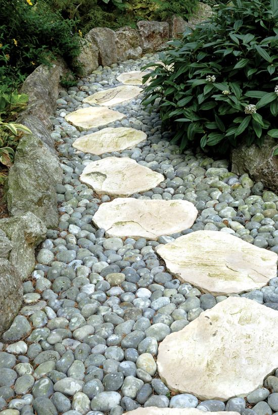166 best images about walkways paths sidewalks on - Stepping stones and pebbles ...