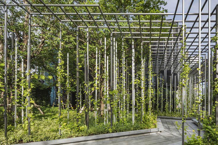 Vertical Green - The Base Phetkasem by Sansiri #TheBase #VerticalGreen #Bkk #Landscape #City #Green #building #condominium #Sculpture #Arsomsilp #Architecture #Landscape #Steel #Thailand #Design #Trellis #Tropical #Sculpture #Thailand