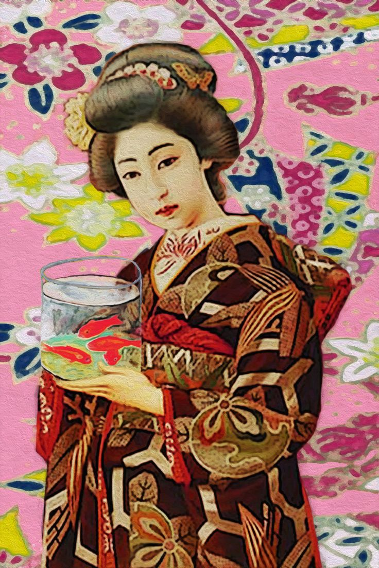 GEISHA WITH RED FISH (Les poissons rouges de Matisse series) 2016 cm 40x28 acrylic, pastel and pencil on paper.