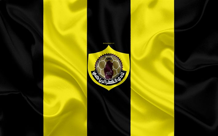 Download wallpapers Qatar SC, 4k, Qatar football club, emblem, logo, Qatar Stars League, Doha, Qatar, football, silk texture, flag, Qatar FC