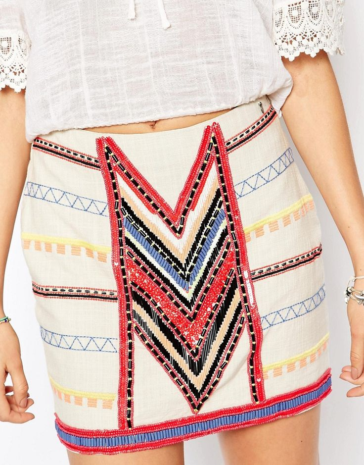 Image 3 ofPepe Jeans Canvas Mini Skirt With All Over Beading