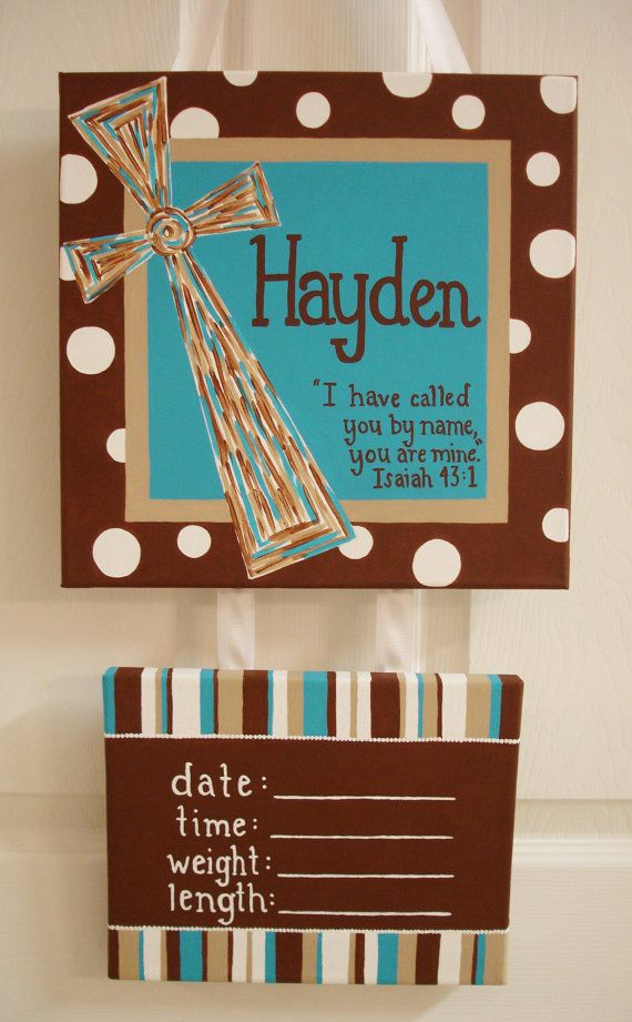 Cross Scripture Painted Personalized Hospital Door Sign, Baby's Room Sign with Name and Birth Stats. Customize Colors