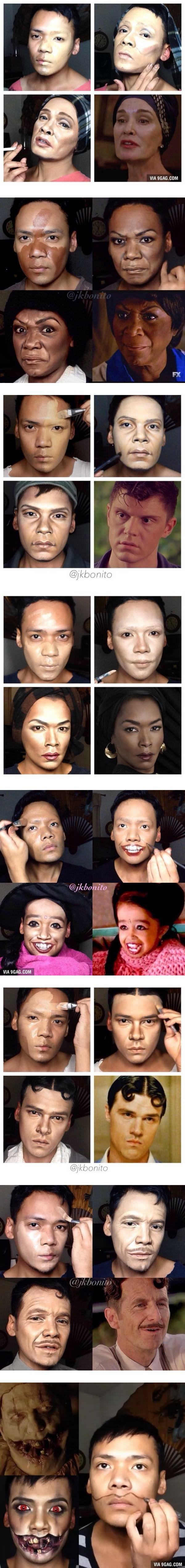 """Guy Transforms Himself Into Every """"American Horror Story"""" Character With Nothing But Makeup vía #9gag"""