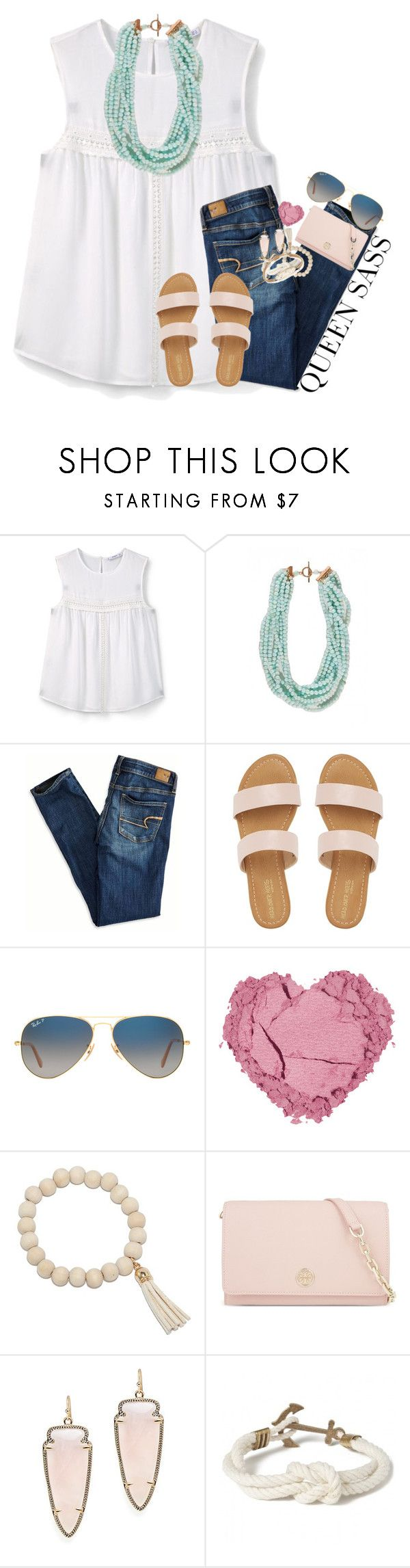 """when ur old, crappy sets are getting 150+ likes but ur newer, better ones can't get past 60"" by kate-elizabethh ❤ liked on Polyvore featuring MANGO, American Eagle Outfitters, Ray-Ban, Tory Burch, Kendra Scott and Kiel James Patrick"