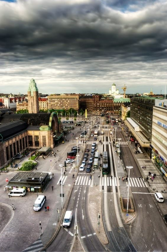 Helsinki, Finland. On the left is main railway station.