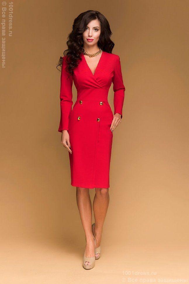 3194b0be428 Красное платье-футляр с длинным рукавом и крупными декоративными пуговицами  Стильные Наряды