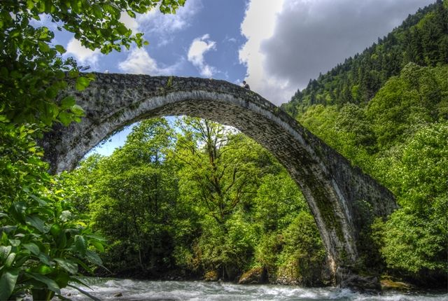 An old stone bridge dating from the Ottoman period in the Camlihemsin region of North-east Turkey