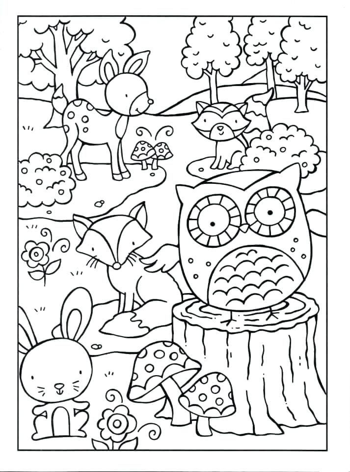 Woodland Animals Coloring Pages Coloring For Adults Woodland