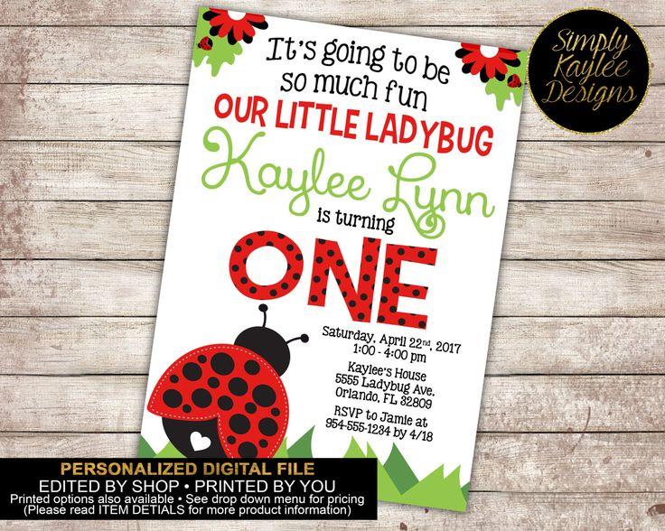 Ladybug Birthday Invitation - Spring Birthday Invitation by SimplyKayleeDesigns on Etsy https://www.etsy.com/listing/245991039/ladybug-birthday-invitation-spring