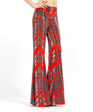 Look what I found on #zulily! Red & Gray Zigzag Palazzo Pants - Women #zulilyfinds