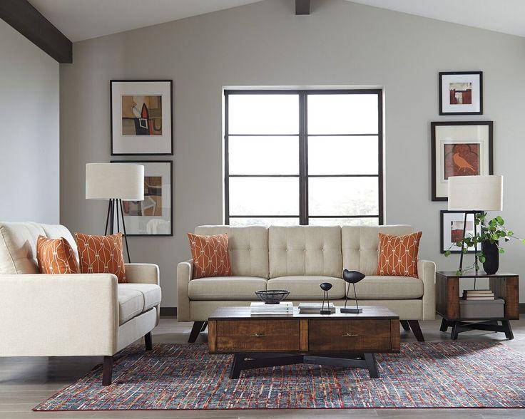Scott Living Montana 506171 Mid Century Angled Leg Sofa U0026 Loveseat