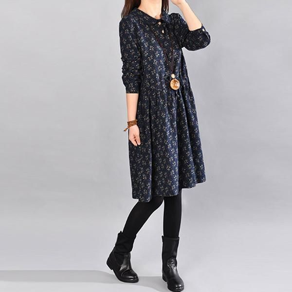 Cotton Floral Navy Blue Dress – Buykud