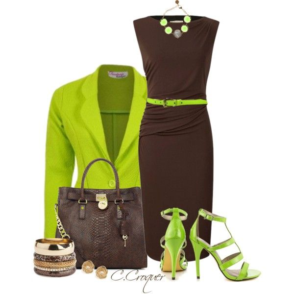 """Lime&Brown Combo"" by ccroquer on Polyvore"