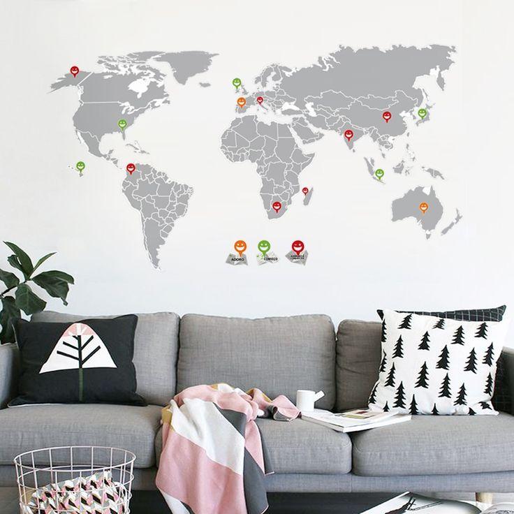 Adesivo de Parede adesivo de parede mapa mundi | Grudado