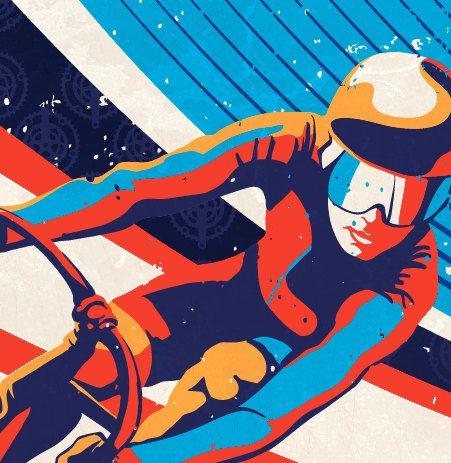 Cartel de ilustración impresión ciclismo pista Retro: 11 X 17    Calidad Galería Giclée imprimir en blanco natural, mate, lino texturizado,