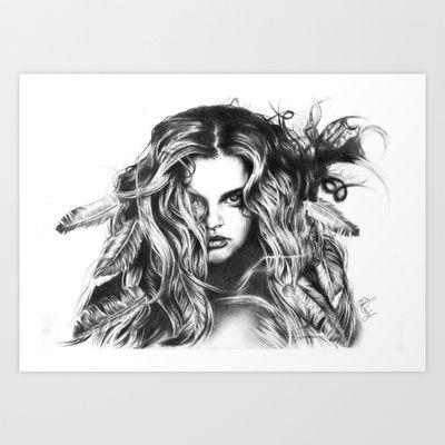 http://society6.com/RoxanneJadeDentry/Feather-girl-6Yf  Feather girl Art Print by Roxanne Jade Dentry - $25.00