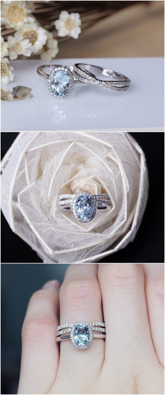 6x8mm Oval Aquamarine Ring Set Solid 14K White Gold Aquamarine Engagement Ring Set Wedding Ring Set / http://www.deerpearlflowers.com/engagement-rings-from-etsy/