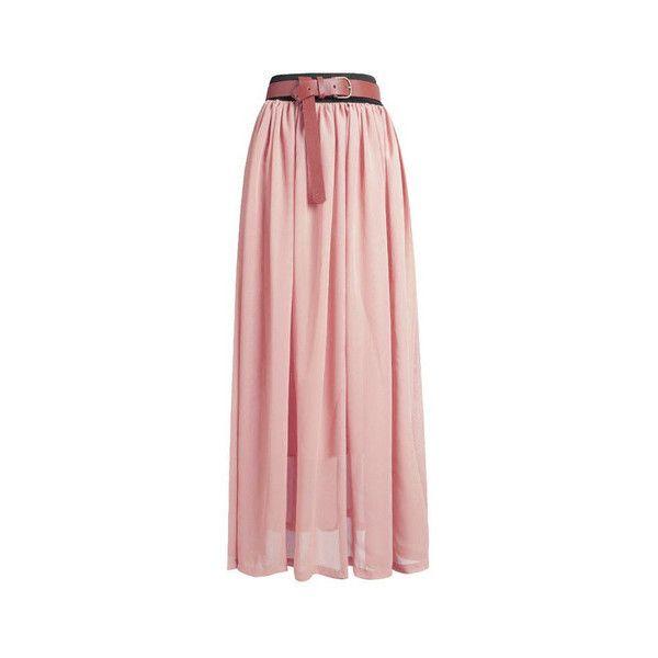 Peach Pink Chiffon Maxi Skirt ($19) ❤ liked on Polyvore featuring skirts, peach pink, pink chiffon skirt, long skirts, ankle length skirt, layered skirt and floor length skirt