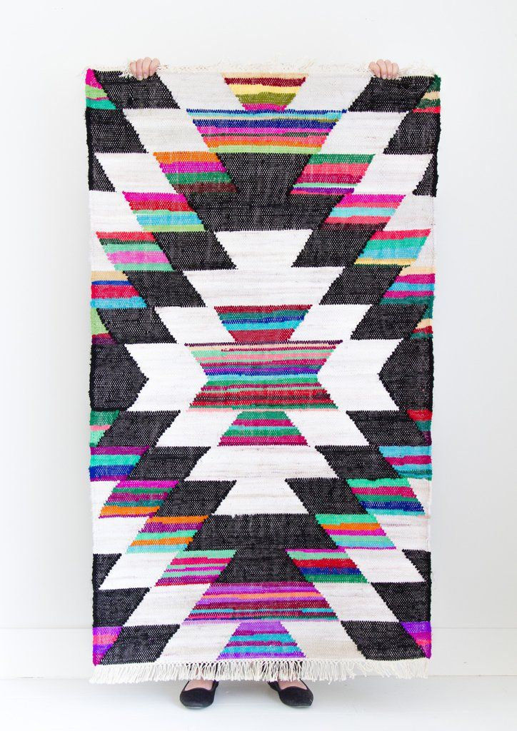 Thick quality woven cotton rug, with enough colour to brighten any space.…
