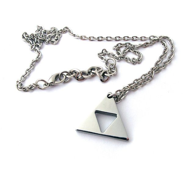 Triforce of Zelda - Polished Stainless Steel ($37) ❤ liked on Polyvore featuring jewelry, necklaces, zelda, accessories, jewels, cocktail jewelry, stainless steel necklace, stainless steel jewelry, special occasion jewelry and jewel necklace