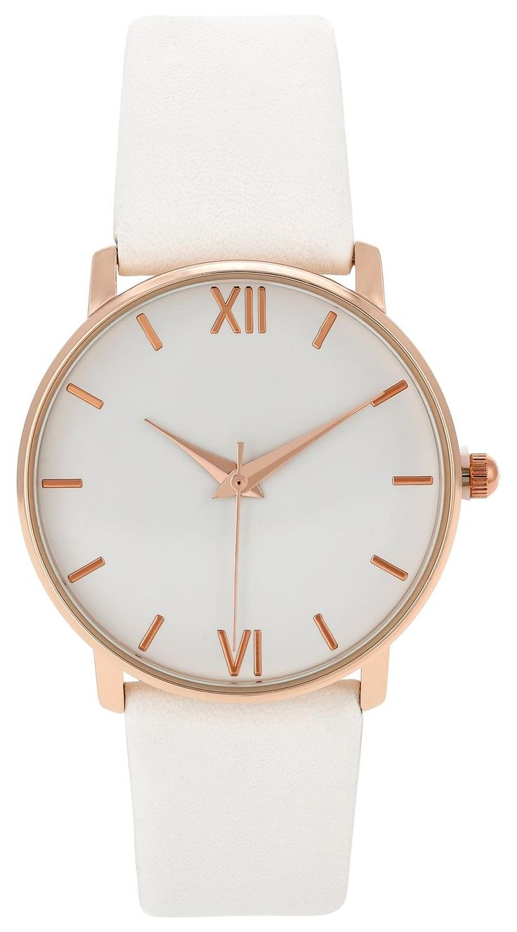 This chic watch is made from white faux leather with rose gold-tone details.    - Watch    - White, rose gold-tone.