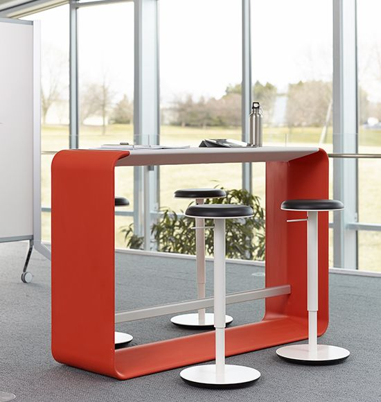 I love these Haworth Hoop collaborative tables. You can't tell from the pic, but the stools can tilt and are height adjustable.