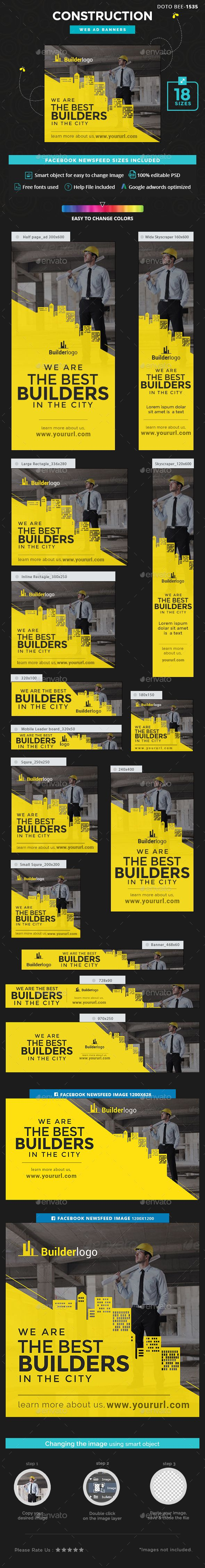 Construction Banners Design - Banners & Ads Web Template PSD. Download here: https://graphicriver.net/item/construction-banners/16958004?s_rank=5&ref=yinkira