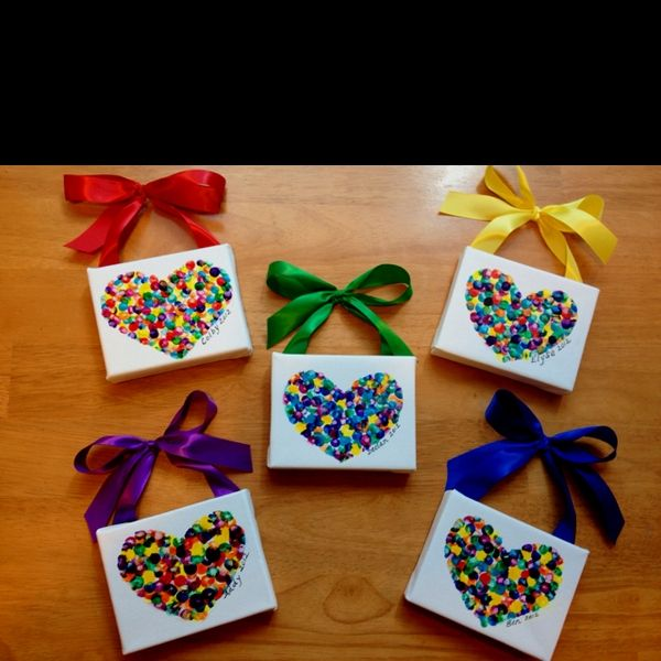 Valentine's day gifts for the moms and dads from the kids :) fingerprint hearts (sharing credit with Robyn Burns) gettin-crafty-at-the-daycare