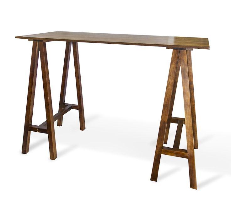 Carpenter Bar Table (walnut legs, walnut top) - South Coast Party Hire